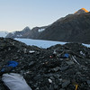 The bivvy site in the moraine with view of Hochstetter Dome, Darwin and Malte Brun.