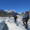 Traveling up the white ice towards De la Beche Ridge.