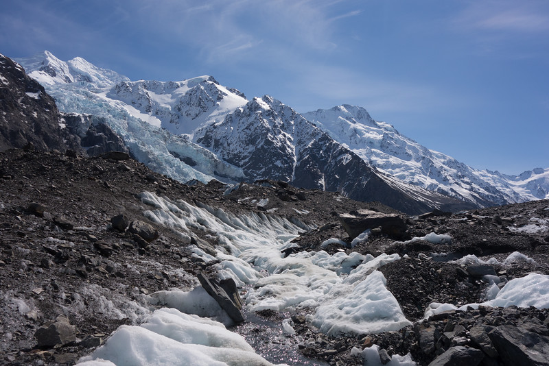 Hochstetter Icefall with Silberhorn and Tasman above.