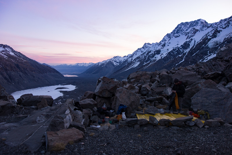 Having foolishly relied on the rock biv, two packliners had to do for shelter that night. Mt Cook above.