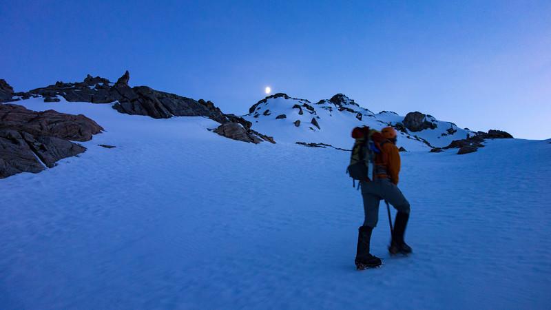 Gaining height on De La Beche ridge at dawn.
