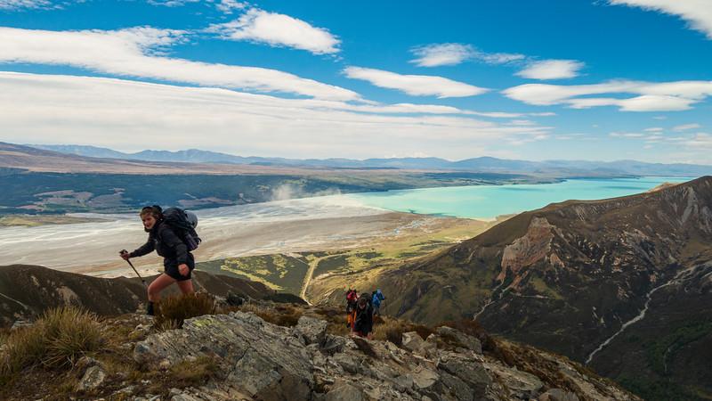 Gaining height up the east ridge.