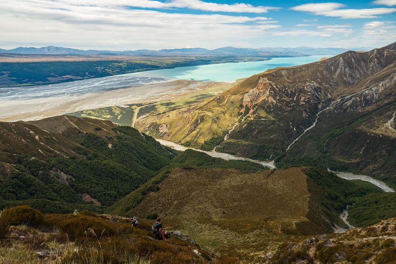 High above Bush Stream and Lake Pukaki; the tussock terrace below offered great camping after the climb.