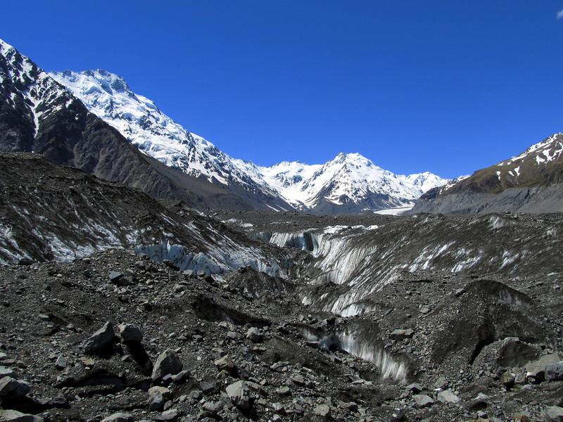 Maze of ice and moraine. Mt Haidinger on the left, de la Beche in the centre.