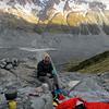 Bivvy site below Freshfield Glacier, Malte Brun Range behind.