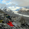Our bivvy site below Freshfield Glacier. Tasman Glacier below.