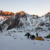 The camp at sunrise, Mt Lucia on the left, Kehua Pass on the right.