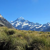 Looking up the Hooker Valley to Mt Cook.