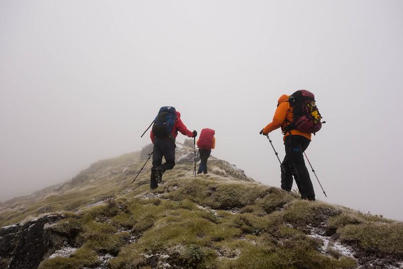 Along the ridge above Waitahu Saddle - trying to stay upright.