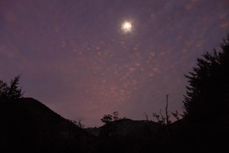 Moon outside the hut.