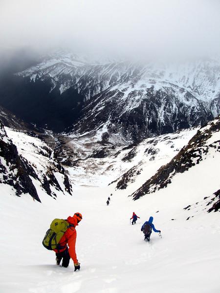 Descending the gully.