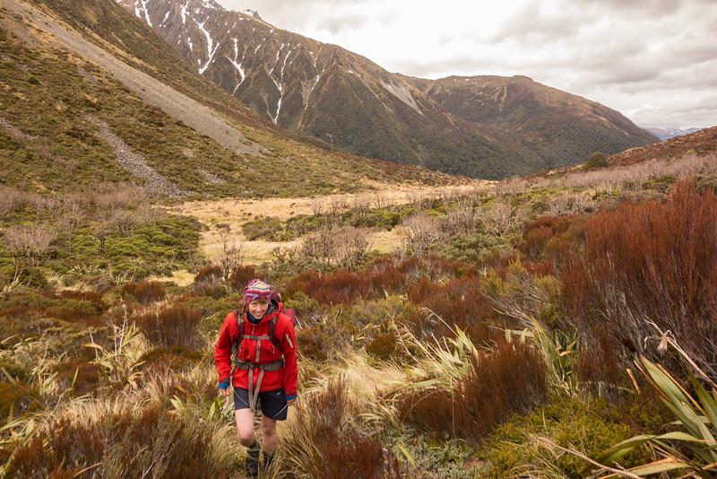 Rebekah reaching Amuri Pass.
