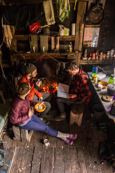 Leisurely breakfast at Slaty Creek Hut.