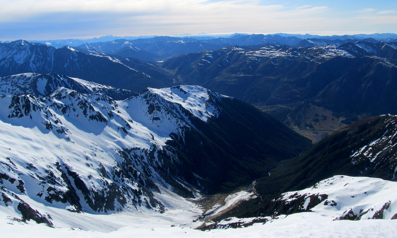 Glacier Gully below and Maling pass with Lake Tennyson in the distance.