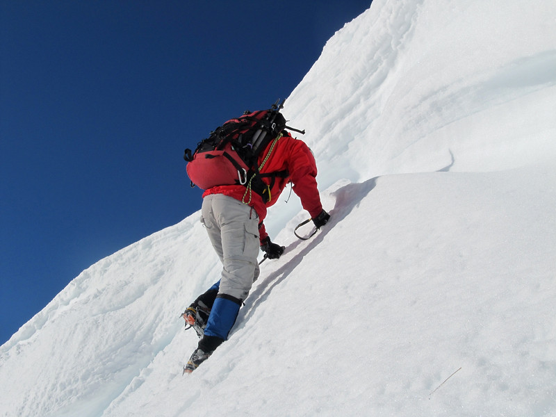Finding a way through the cornice.