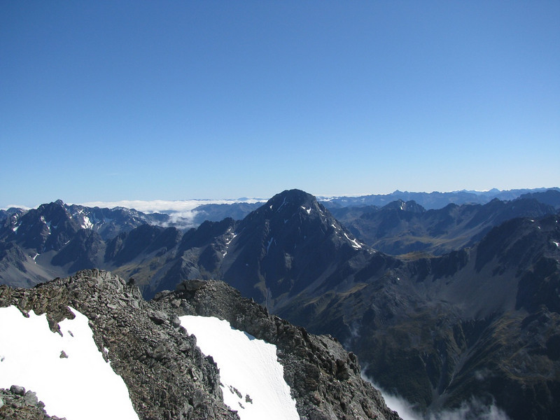 Travers Peak (right) and Mts Cupola and Hopeless on the left.