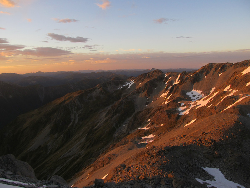 Looking south into Camera Gully at sunrise.