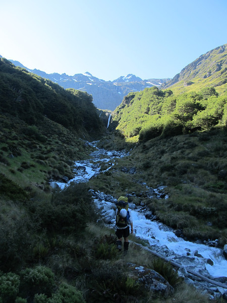 Heading up Camera Gully, the waterfall is passed on the true left.