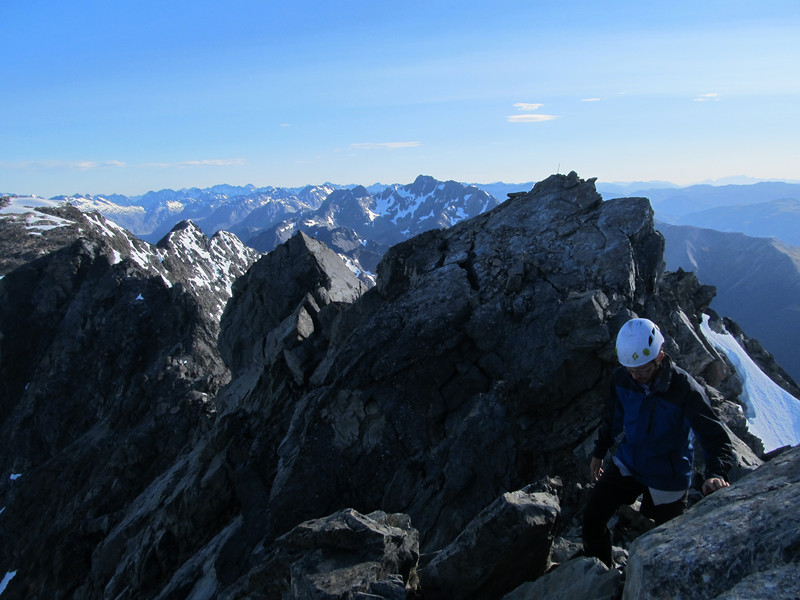 Just below the summit.