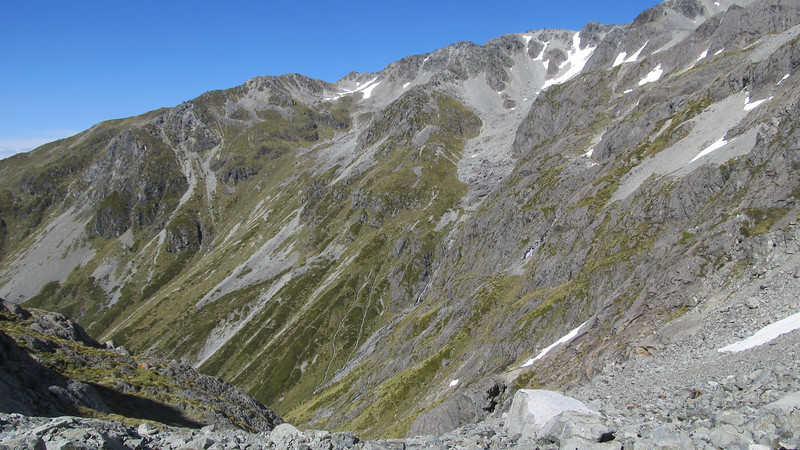 The head of Camera Gully, the tent can be spotted on the bench on the left.