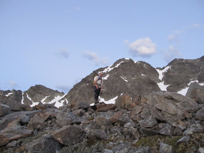 on the ridge above Camera Gully tarn.
