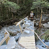 Bridge that has been washed out during the new years flood just below Cannibal Gorge Hut.