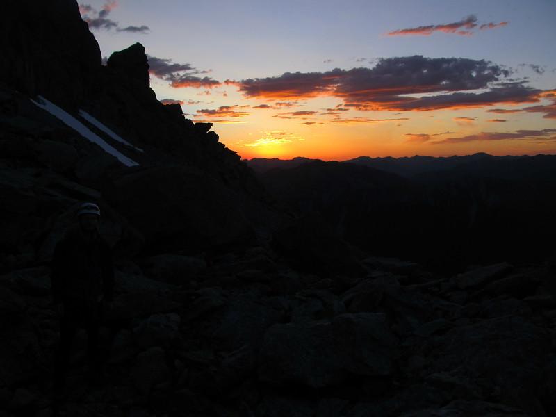 Sunrise from the Camera Gully tarn.