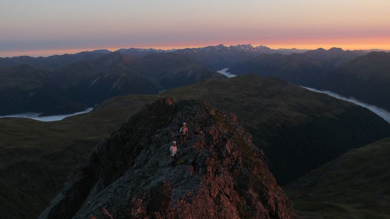 On the North Ridge of Mt Technical at sunrise.