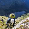 Exposed climbing above the Wooly River tarn.