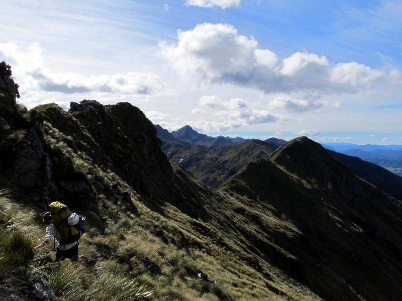 Sidling a steep section around Mt Blackadder.