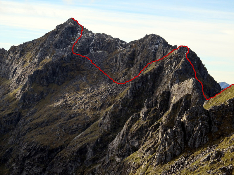 Our route on the south ridge of Ivess Peak. The route required one steep pitch on the steep face on the far right.