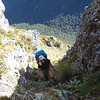 Me climbing a steep gully near Mt Blackadder (photo- James Thornton).