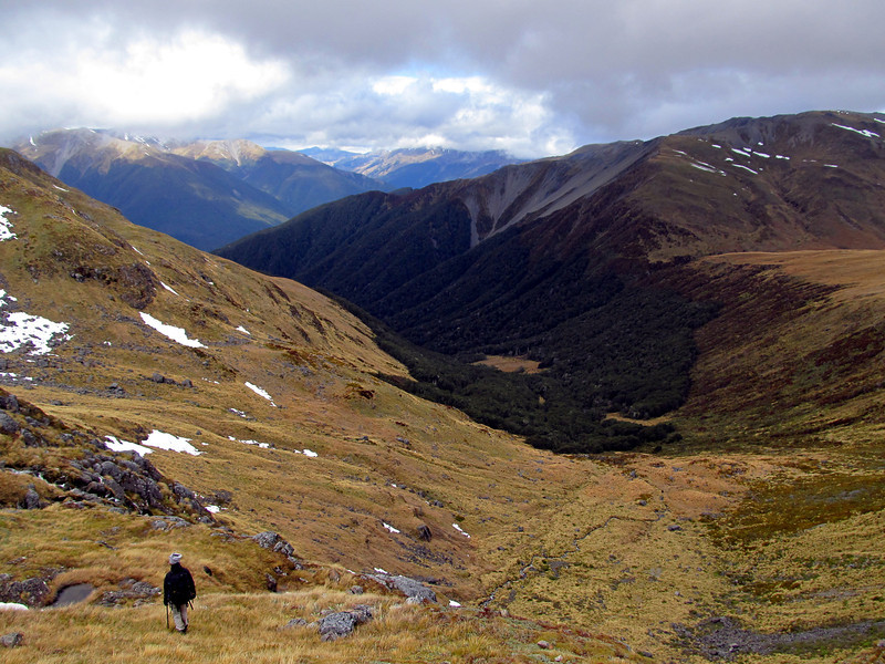 Descending back to the bivvy (in the bush clearings below).