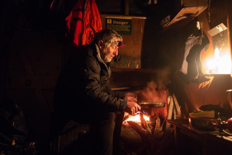 Geoff preparing dinner.