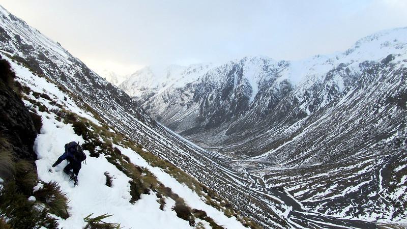 Heading up towards the Mt Dora-Mt Guinvere ridge, Clarence Valley below.