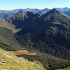 Looking towards Mt Haast and the basin we camped in in the headwaters of the Rahu River left branch.