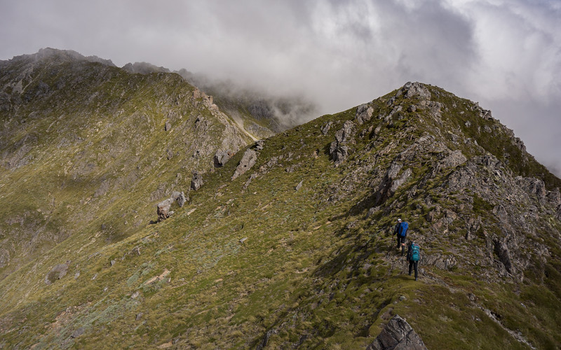 On the ridge towards Mt Lakeman (somewhere in cloud in the centre image)