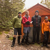 The team at Lake Man biv after a hurried retreat from our camp in a blustery NW.