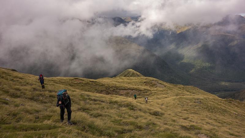 On the nice tussock ridge NE of Pt 1555m.