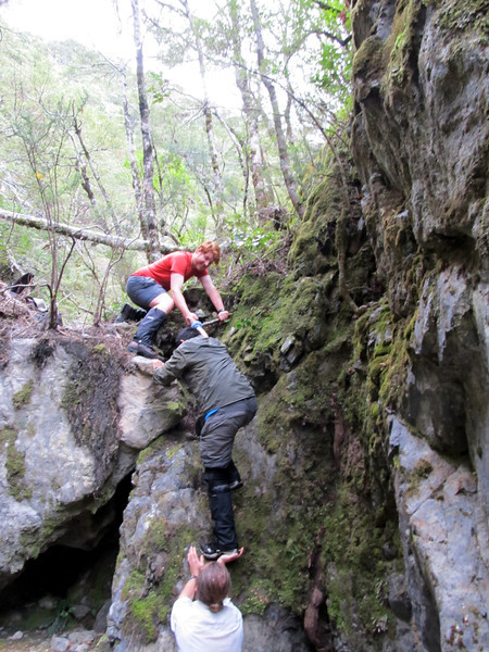 Getting up a cruxy section in Evangeline Stream.