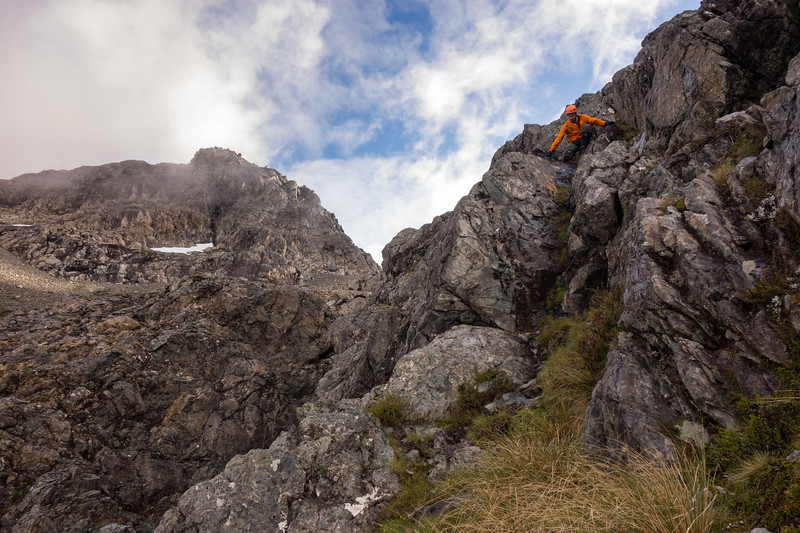 Some scrambling above the tarn to get onto Pt 2180m.
