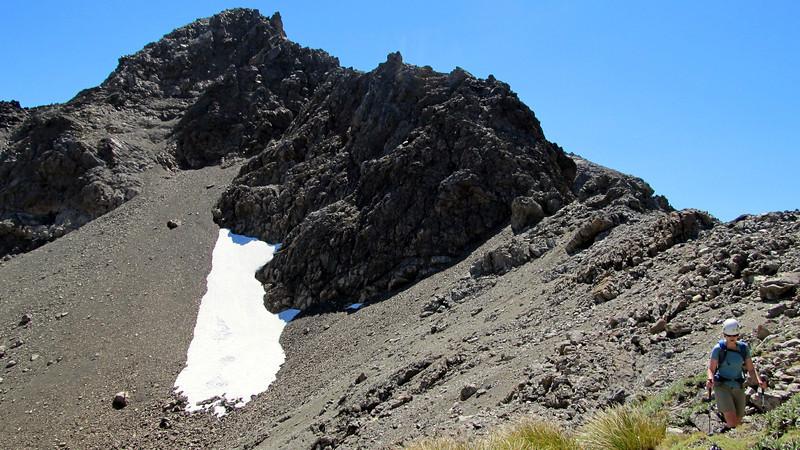 Marta descending the SE ridge of Mt Princess. Mt Princess above.