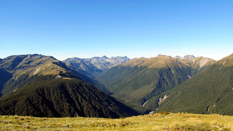 View up the Mariua Valley with the Spenser Mountains at the head seen from the Lewis Pass tops.