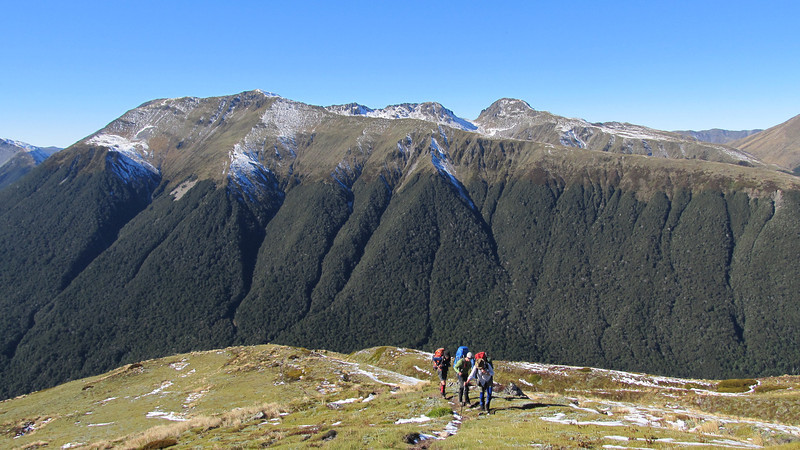 Climbing up to the Lewis Pass tops.