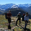 View of the Spenser Mountains above bushline. Johno, Anthony, Charles.