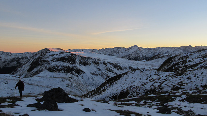 Climbing up to the West ridge of Mt Technical at sunrise.