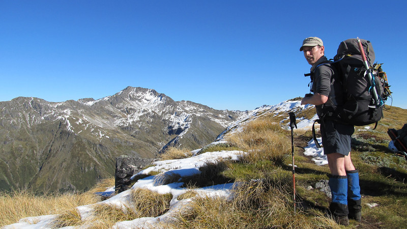 Ant enjoying the amble along the Lewis Pass tops, Mt Technical on the left.