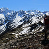 Me above Glacier Gully near Pt. 1643m, Mt Una on the left.