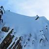 James downclimbing a steep icy gully on the Matakitaki side.