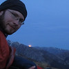James enjoying the moonrise over Maling Pass from our bivvy.